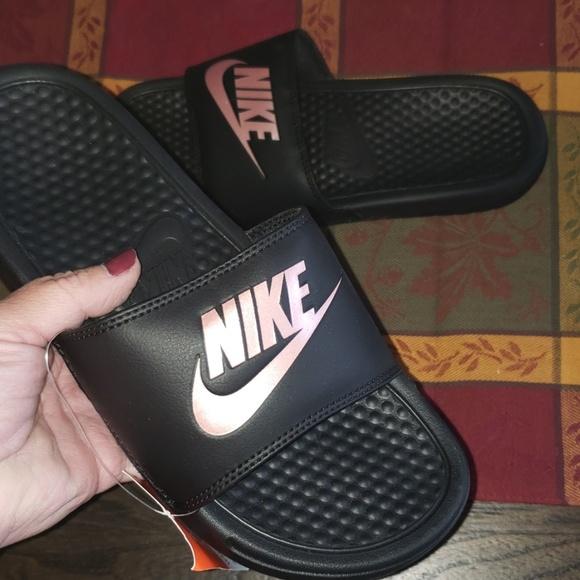New Nike Womens Benassi Black Rose Gold